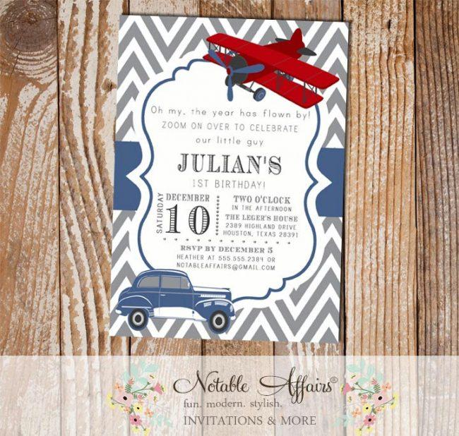 Gray and Navy Blue Chevron Vintage Car Modes of Transportation Birthday Invitation