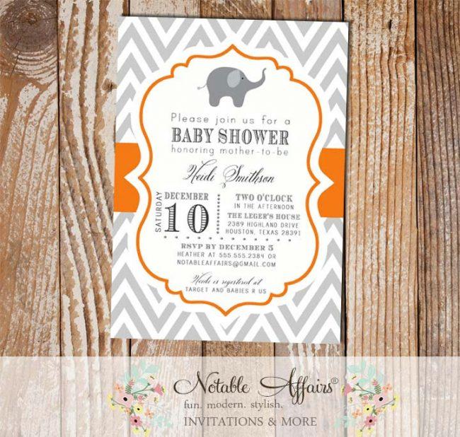 Gray and Orange Chevron Elephant Baby Shower Invitation