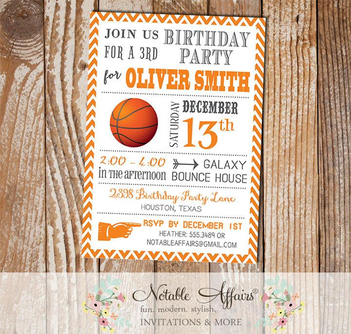 Gray And Orange Chevron Modern Basketball Birthday Party Invitation