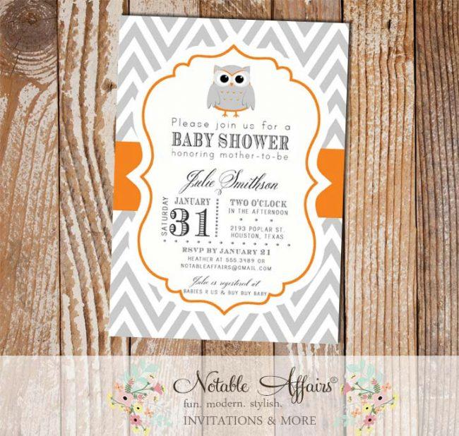 Gray and Orange Chevron Owl Modern Baby Shower Birthday Invitation