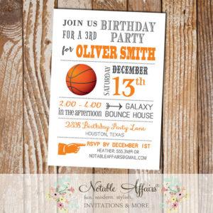 Gray and Orange Modern Basketball Birthday Party Invitation