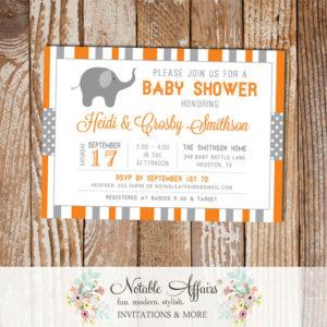 Gray and Orange Stripes Dots Elephant Baby Shower Invitation