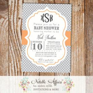 Gray and Peach Monogram Polka Dots Baby Shower Birthday or Gender Reveal Invitation