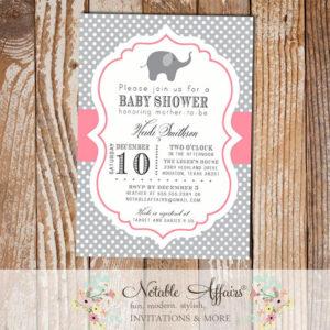 Gray and Pink Polka Dot Elephant Modern Baby Shower Birthday Invitation