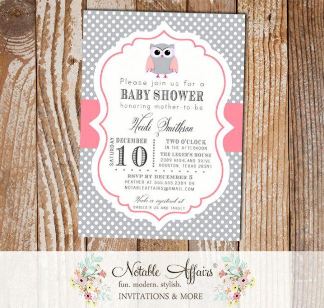 Gray and Pink Polka Dot Owl Baby Shower Birthday Invitation