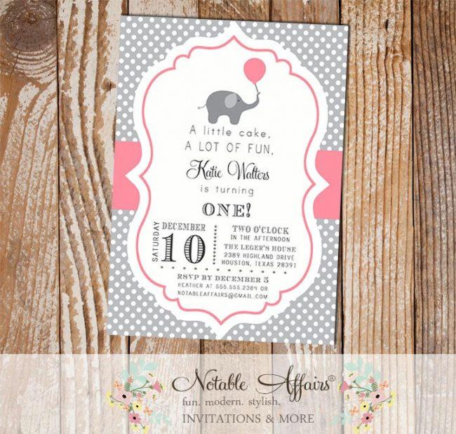 Gray and Pink Polka Dot with Elephant with Balloon Birthday Invitation