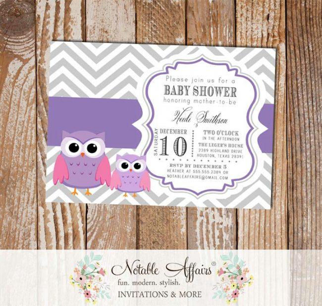 Gray and Purple Chevron Baby Owls Baby Shower Invitation