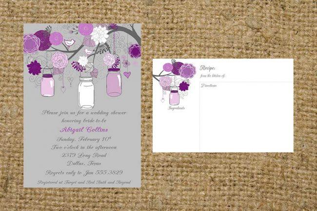Gray and Purple Eggplant Flowers Branch and Mason Jar Bridal Wedding Housewarming Invitation and recipe card