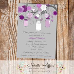 Gray and Purple Eggplant Flowers Branch and Mason Jar Classy Modern Bridal Wedding Baby Shower Invitation
