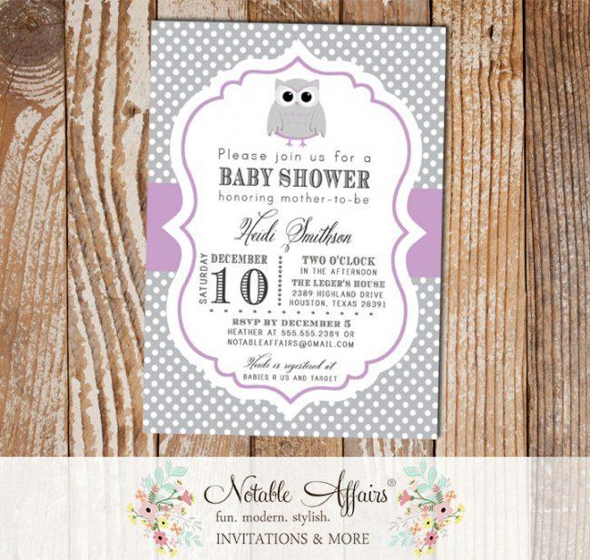 Gray and Purple Polka Dot Owl Modern Baby Shower Birthday Invitation