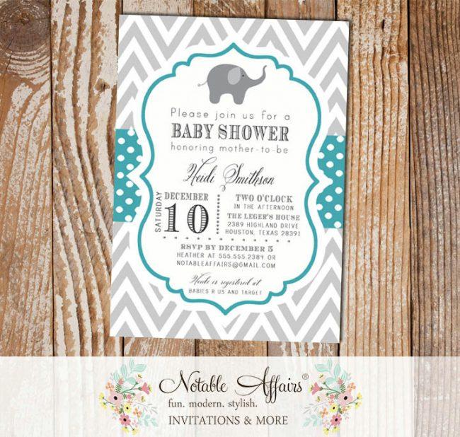 Gray and Teal Chevron and Polka Dots Elephant Baby Boy Baby Shower Invitation