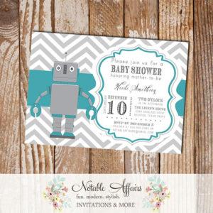 Gray and Teal Chevron Robot Baby Boy Baby Shower Birthday Invitation