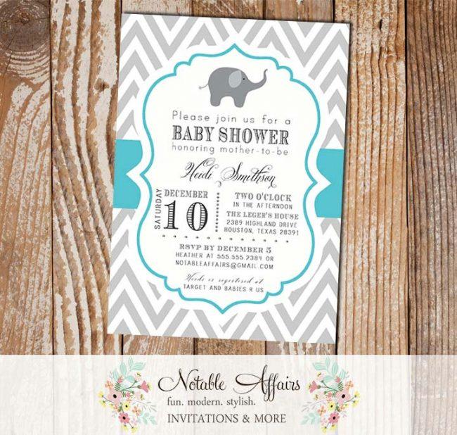 Gray and Turquoise Elephant Modern Baby Shower, Bridal Shower, Birthday, etc Invitation