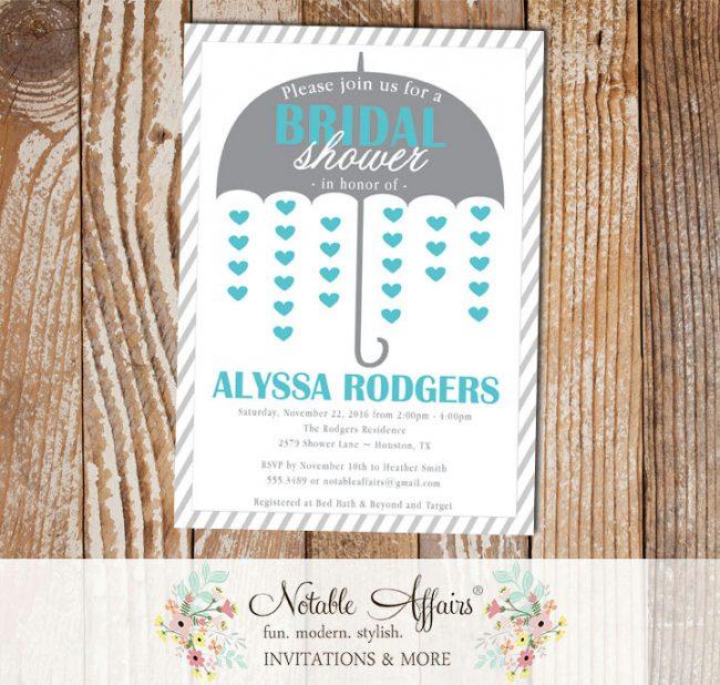 Gray and Turquoise Umbrella Hearts Bridal Wedding Shower invitation