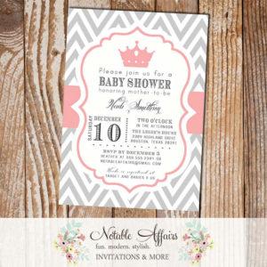 Gray and White Chevron Light Pink Crown Tiara Pink Birthday or Baby Shower Invitation