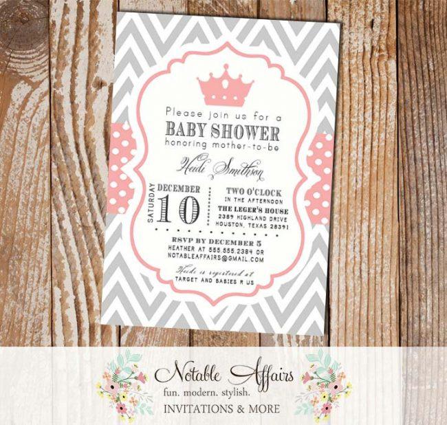 Gray and White Chevron Light Pink Polka Dots Crown Tiara Pink Birthday or Baby Shower Invitation