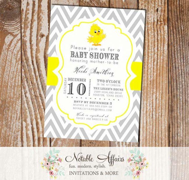 Gray and Yellow Baby Chick Chevron Baby Shower Birthday or Gender Reveal Invitation
