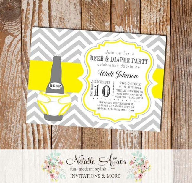 Gray and Yellow Chevron Beer Diaper Baby Shower Invitation