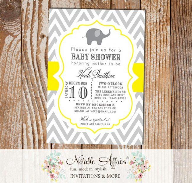 Gray and Yellow Chevron Elephant Baby Shower Invitation