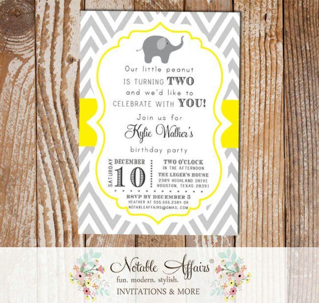 Gray and Yellow Chevron Elephant Second Birthday 2nd Birthday invitation