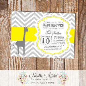 Gray and Yellow Chevron Giraffe Baby Shower Invitation