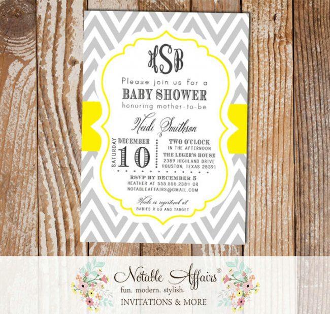 Gray and Yellow Chevron Monogram Baby Shower, Bridal Shower, Birthday, etc.