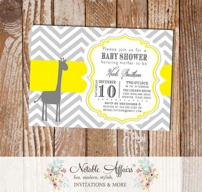 Gray and Yellow Giraffe Chevron Baby Shower Birthday or Gender Reveal Invitation