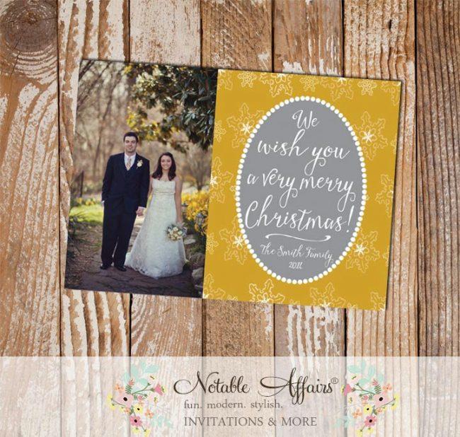 Gray and Yellow Gold Snowflake Pearl Modern Christmas Photo Card
