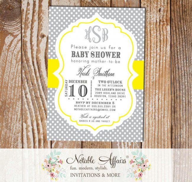 Gray and Yellow Monogram Polka Dot Baby Shower Birthday Bridal Shower Gender Reveal Invitation