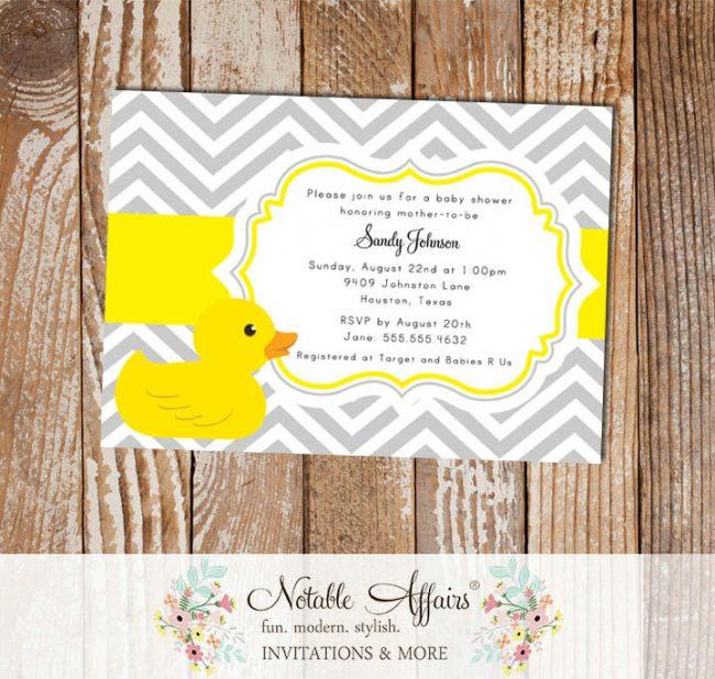 Gray and Yellow Rubber Duck Chevron Baby Shower invitation