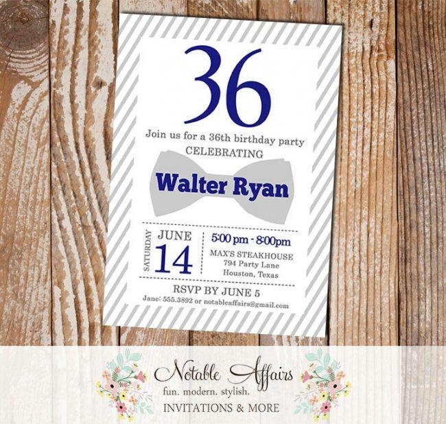Gray Bow Tie Milestone Birthday Party invitation