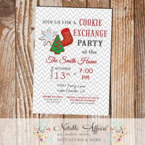 Gray Chevron Christmas Cookie Exchange Party Invitation
