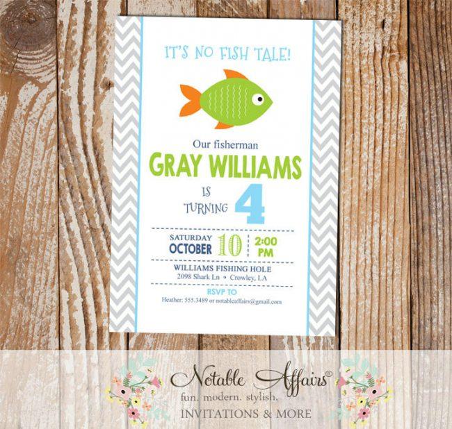 Gray Chevron Green Orange Blue Fish Little Fisherman BIRTHDAY invitation