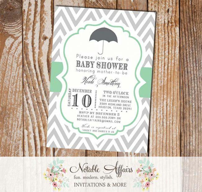 Gray Chevron Mint Umbrella Baby Shower Gender Reveal Party Bridal Shower Couples Shower or Birthday Invitation