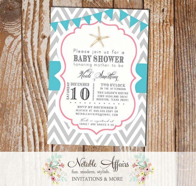 Gray chevron pink and turquoise starfish mermaid under the sea bunting baby shower birthday invitation