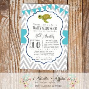 Gray Chevron Sea Turtle Bunting baby shower or birthday party invitation