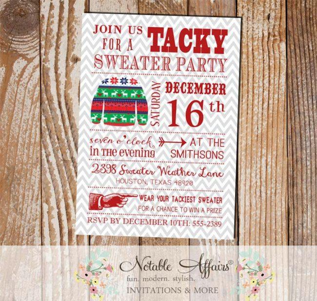 Gray Chevron Tacky Sweater Christmas Party Invitation