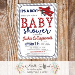 Gray Dark Navy Blue and Dark Red Polka Dots Diagonal Stripes Airplane Baby Shower Invitation