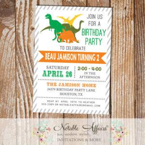 Gray diagonal stripes dinosaurs modern birthday party invitation