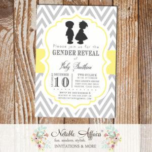 Gray Light Butter Yellow Boy Girl Silhouette Baby Shower Gender Reveal Birthday Twins Gender Neutral Invitation