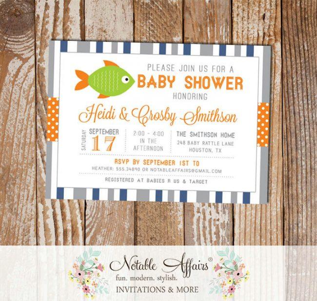 Gray Light Navy Orange Chartreuse Fish Stripes and Polka Dots Baby Shower invitation