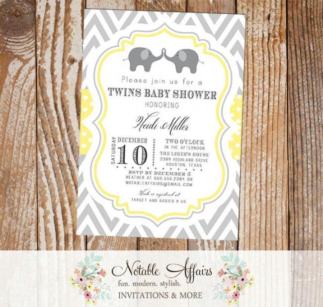 Gray Light Yellow Gender Neutral Chevron Polka Dot Elephants Baby Shower Twins Baby Shower Invitation