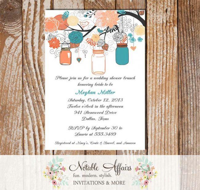 Gray Peach Coral Teal Turquoise Elegant Flowers Mason Jars