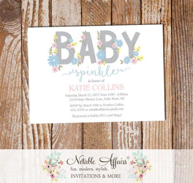 Gray Pink Blue Flowers Gender Neutral Modern Baby Sprinkle invitation