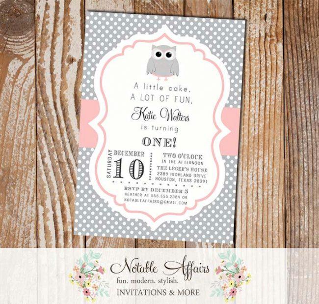 Gray Polka and Light Blush Pink Baby Owl Baby Shower or Birthday Invitation