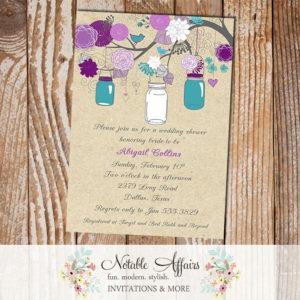 Gray Purple Plum Eggplant Teal Turquoise Rustic Vintage Elegant Kraft Floral Mason Jars