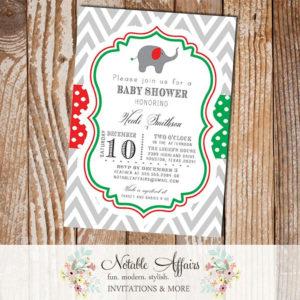 Gray Red and Green Chevron Polka Dots Elephant Christmas Holiday Baby Shower Invitation