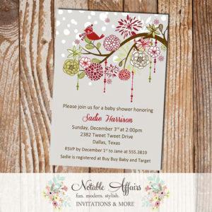 Gray Red Green Elegant Flowers Snowflakes Bird Winter Baby Shower, Birthday, Bridal shower, party invitation