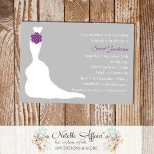Gray Silver Dark PurpleWedding Shower Bridal Shower Lingerie Bachelorette Party Invitation