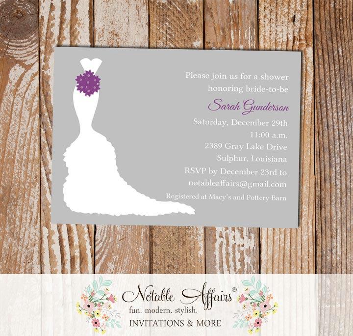 gray dark purple bridal shower invitation
